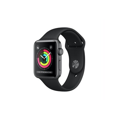 Apple Watch Series 3, 42 мм, корпус из алюминия цвета «серый космос», спортивный ремешок чёрного цвета