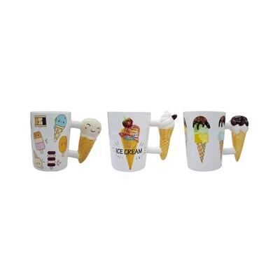 Tazas con mango de cono de Helado, 3 diseños.