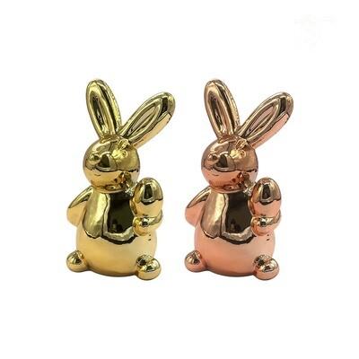 Alcancías de cerámica diseño conejo de pascua, 2 colores.