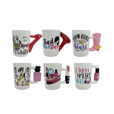 Tazas con mango de Accesorios Mujer, 6 diseños.
