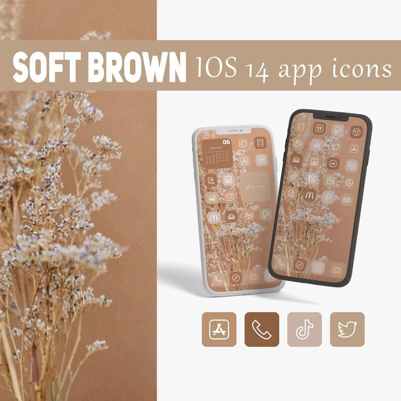Soft brown app icons collection
