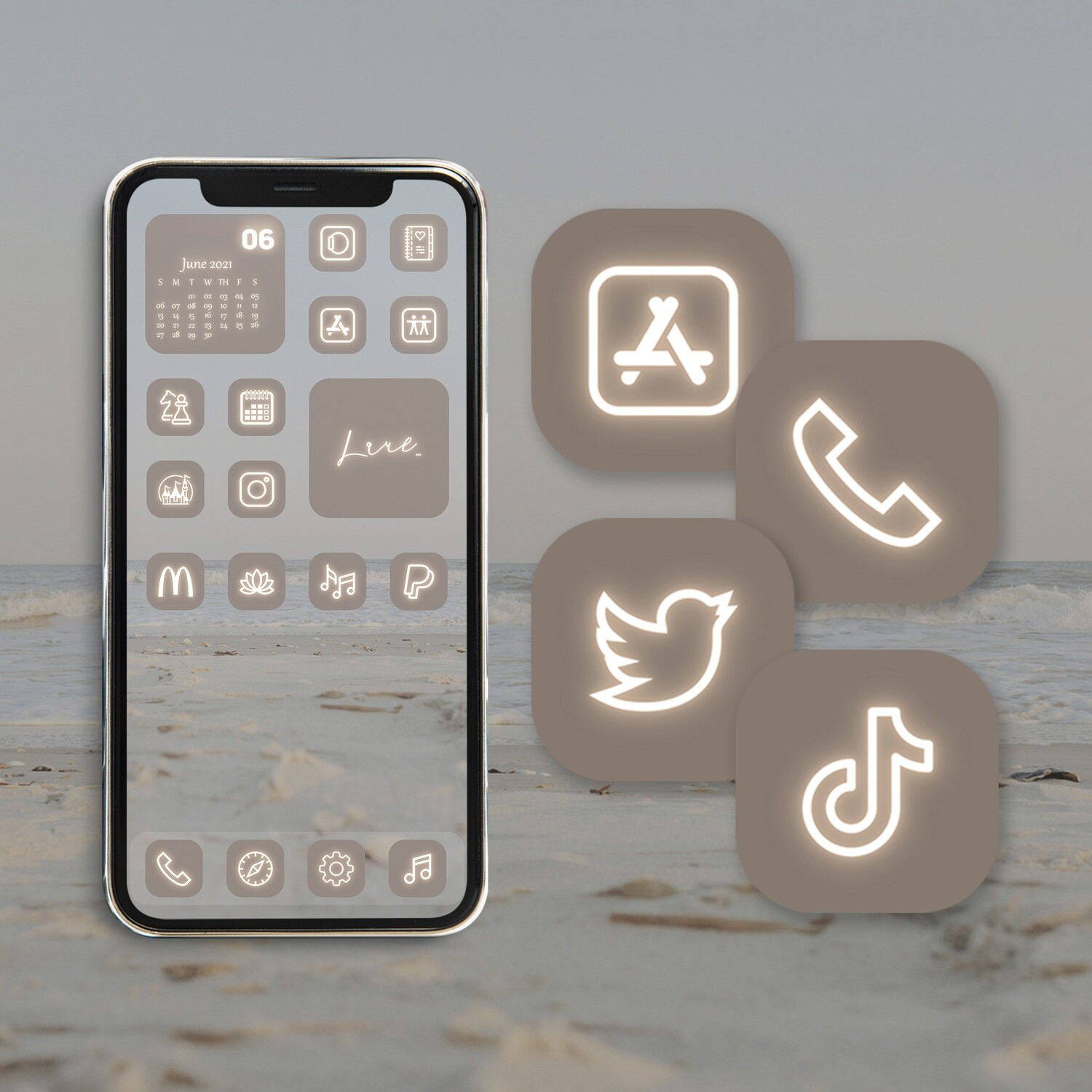 Neon beige app icons collection