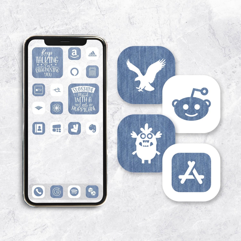 White and Denim app icons   iOS 14 icons  aesthetic app icons   app covers   widgetsmith icon