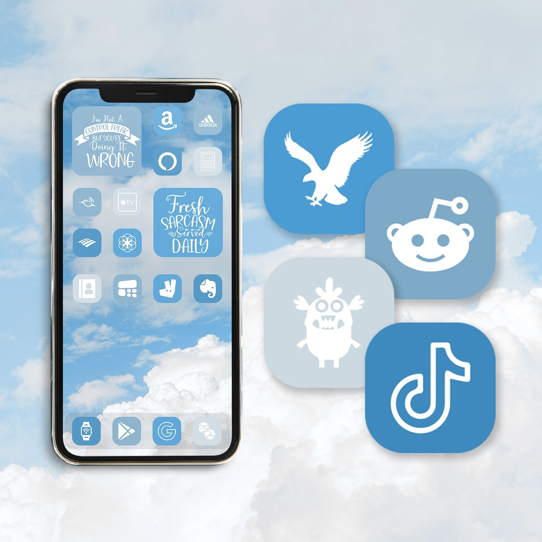 Carolina blue app icons iOS 14 icons aesthetic app icons app covers widgetsmith icon