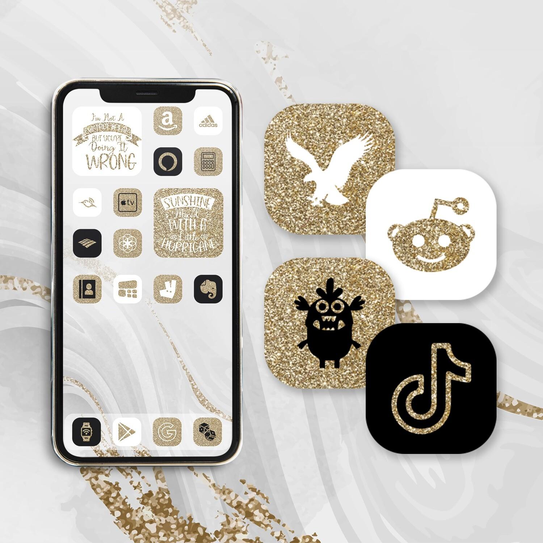 24k gold app icons iOS 14 icons aesthetic app icons app covers widgetsmith icon