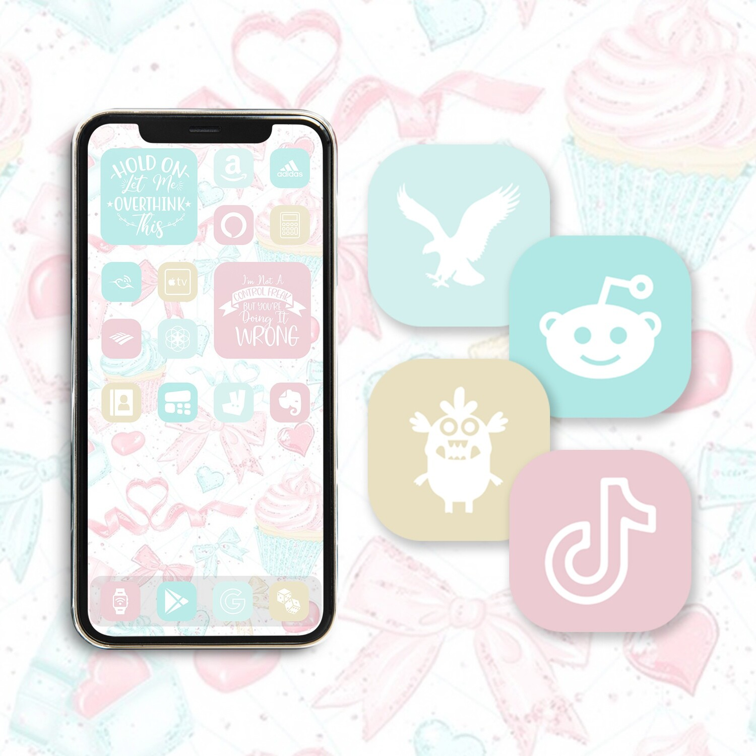 Mint Candy app icons in dusty blue mint pearl white soft pink colors with wallpaper & widgets