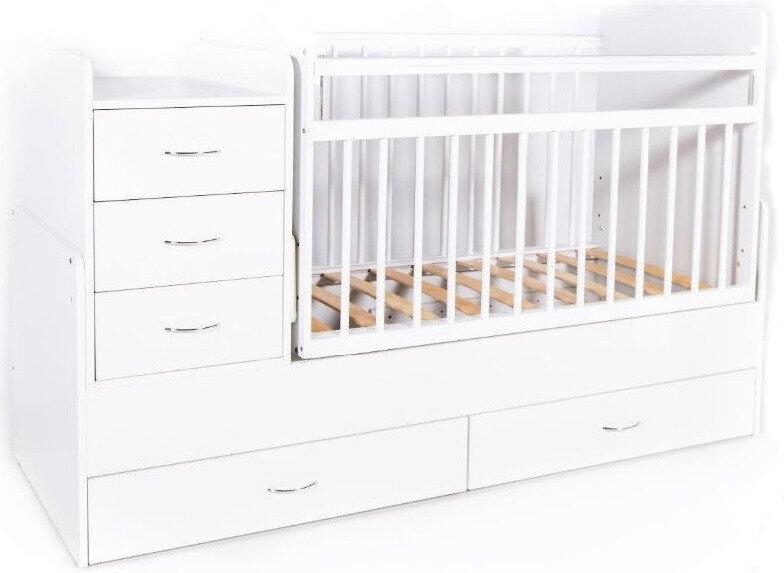 Кровать-трансформер детская Bambini M 01.10.01 Белая фасад МДФ