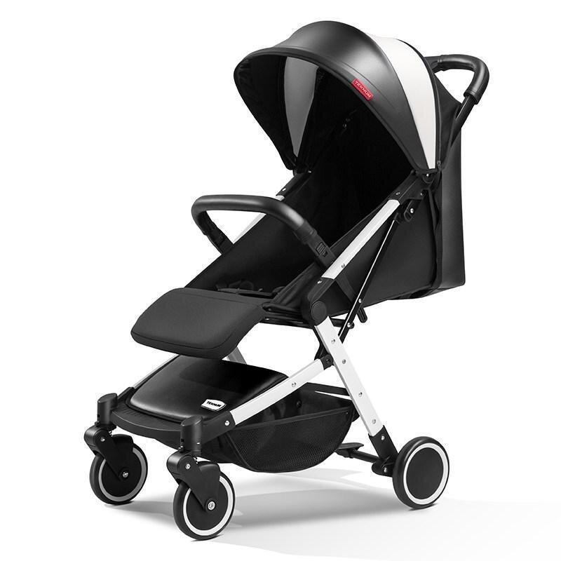 Детская прогулочная коляска Teknum 308 (экокожа), черно-белая