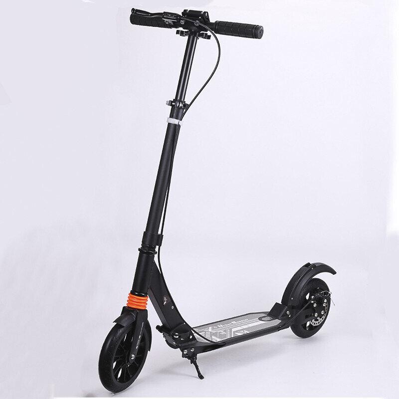 Самокат городской Urban Scooter 200 с ручным дисковым тормозом, черный