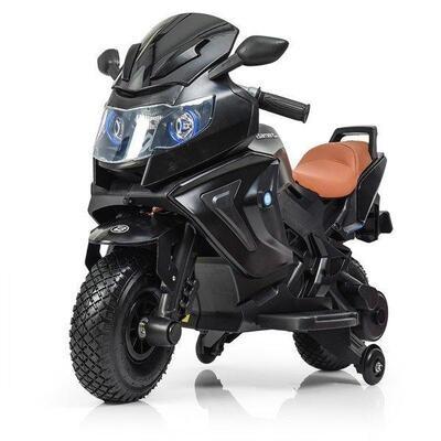 Детский электромобиль мотоцикл Kawasaki с надувными колесами, черный