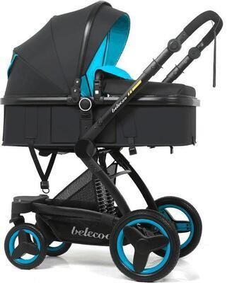 Коляска Belecoo 3в1 синий-черный