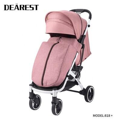 Прогулочная коляска DEAREST 818 Plus Розовый со светлым каркасом