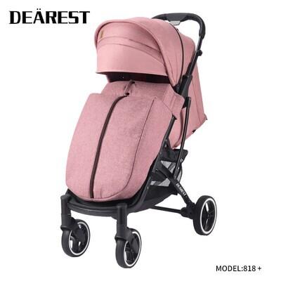 Прогулочная коляска DEAREST 818 Plus Розовый с темным каркасом