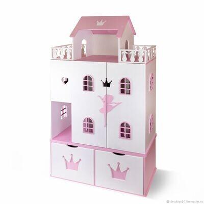 Кукольный домик Балерина (белый-розовый)