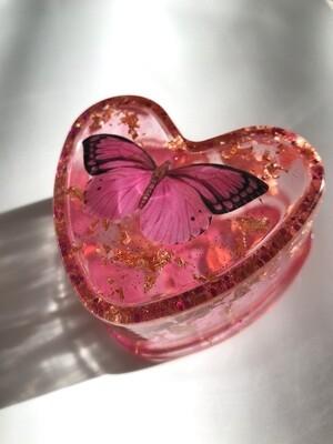 Pink Butterfly Trinket Box