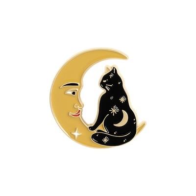 Galaxy Cat & Moon enamel pin