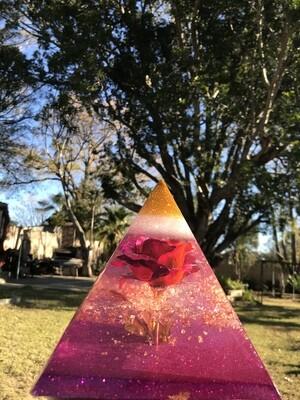 Floral Rose Resin Pyramid