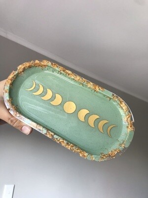 Sage Green & Gold Moon Phases Trinket Dish
