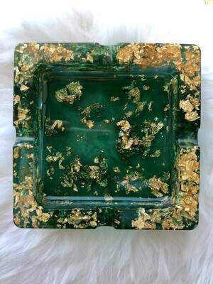Emerald Green and Gold Ashtray