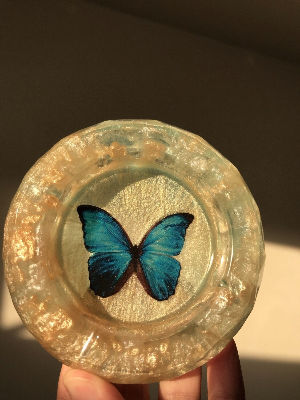 Blue Butterfly Ashtray