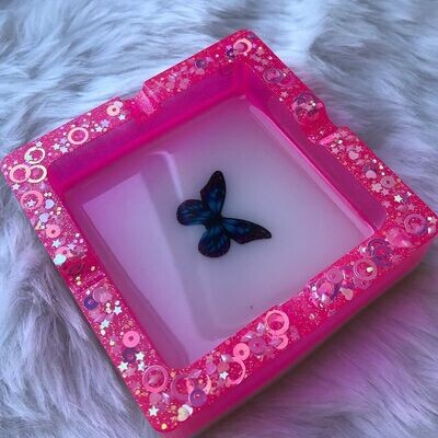 Pink Butterfly Ashtray