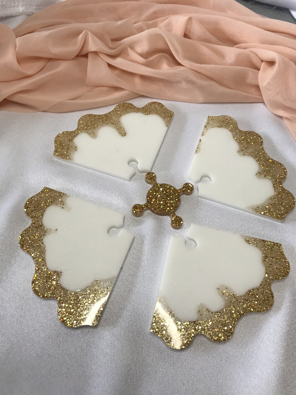 White & Gold Puzzle Coaster