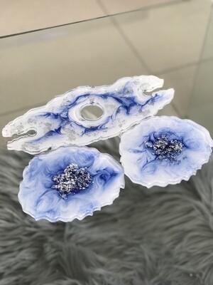Blue & White Coaster Set + Wine Holder