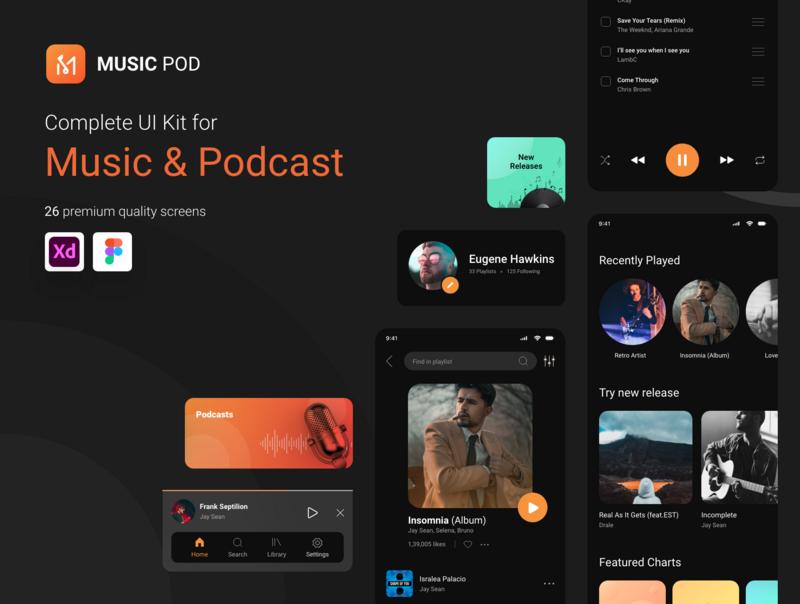 MusicPod App - Complete UI Kit