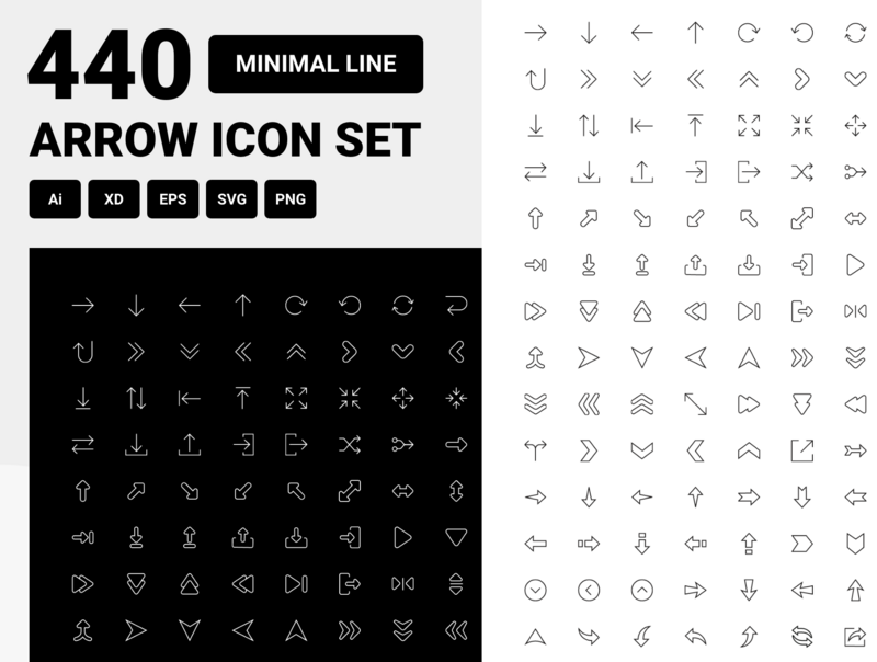 Minimal line arrow icon set