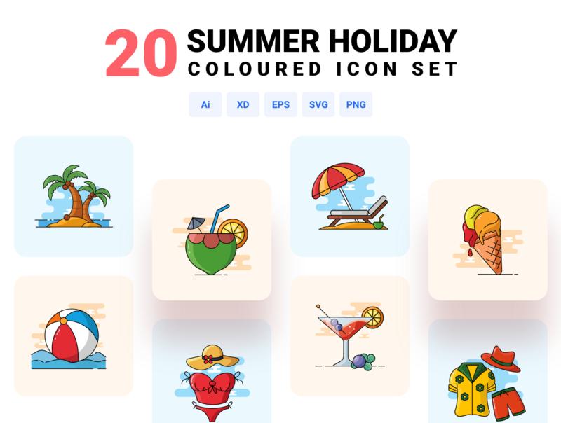 Summer holiday - Coloured icon set