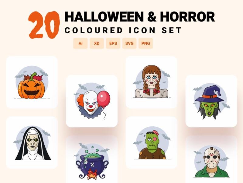 Halloween & Horror character icon set