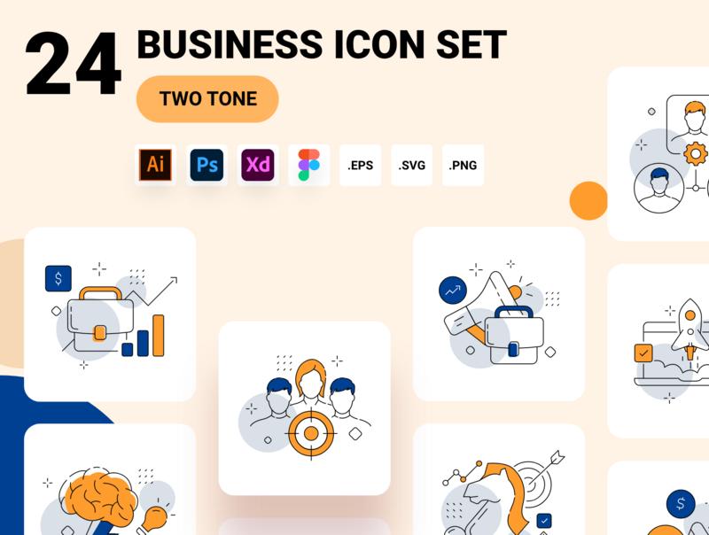 Business management icon set