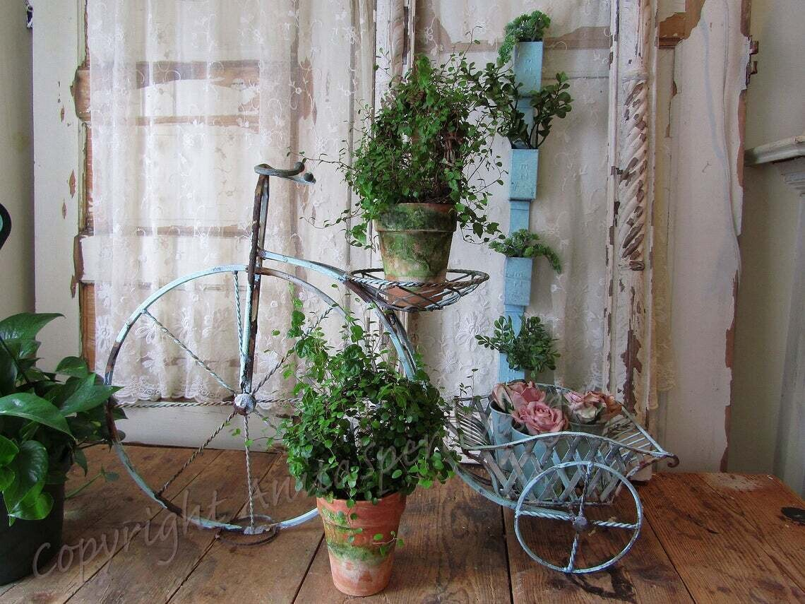 Rusty garden bicycle planter stand, plant décor grouping, time worn old cistern