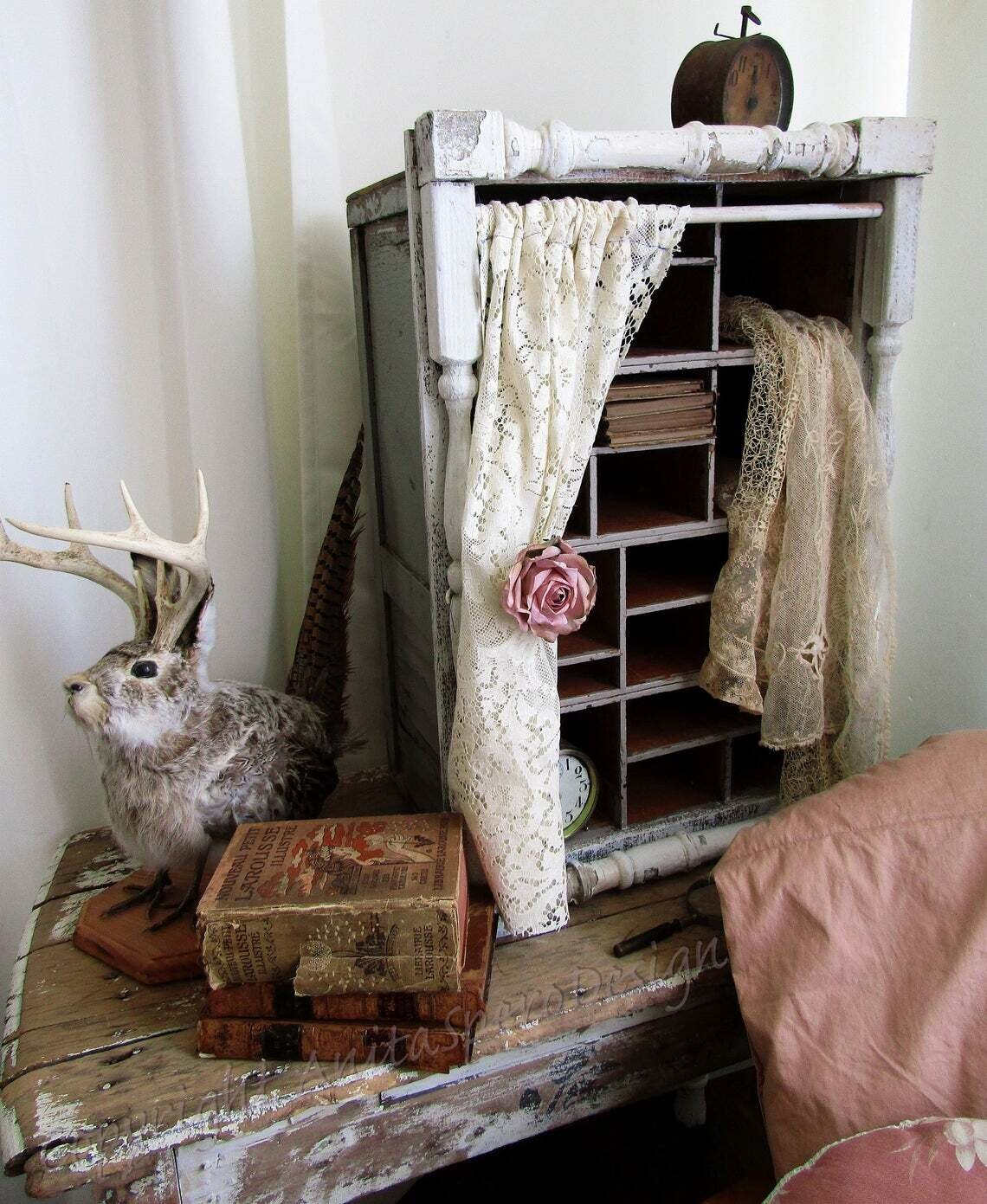 Large deep old tools cubby, farmhouse cottage organizer with lace curtain