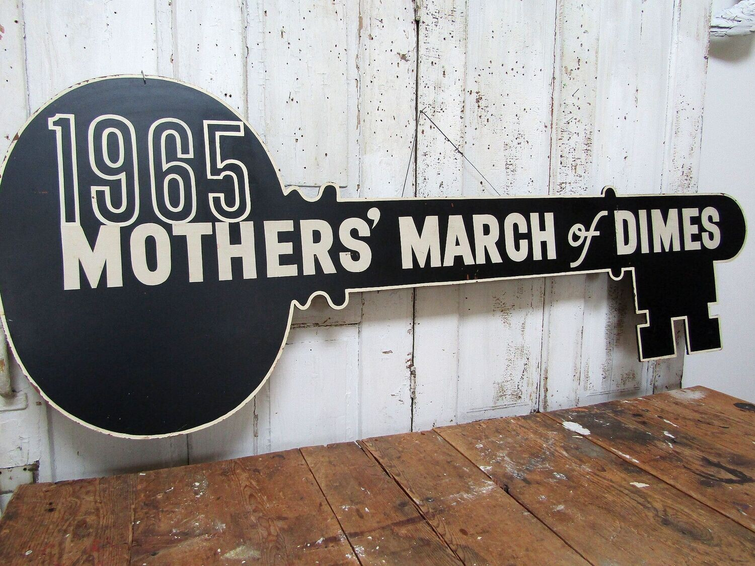 RARE Large vintage key shaped sign advertisement for the wall, March Of Dimes, 1965, 60 inches by 24 inches