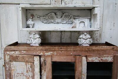 Shadow box table display case shelf, ornate painted wood French shabby decor