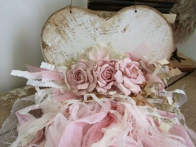 Handmade tattered heart and roses wall hanging with lace and ribbon pink