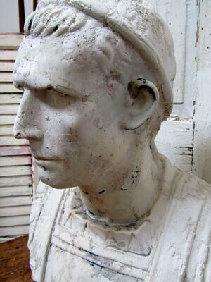 """Large 25"""" tall rare antique Roman male bust sculpture, indoor outdoor large white table statue."""