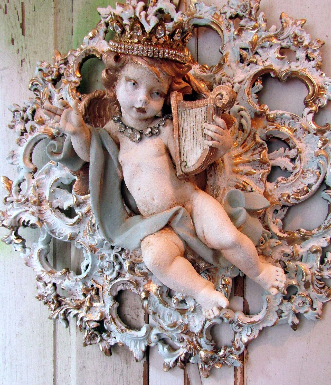 Ornate vintage syroco piece with Fontanini cherub, handmade reclaimed wall decor