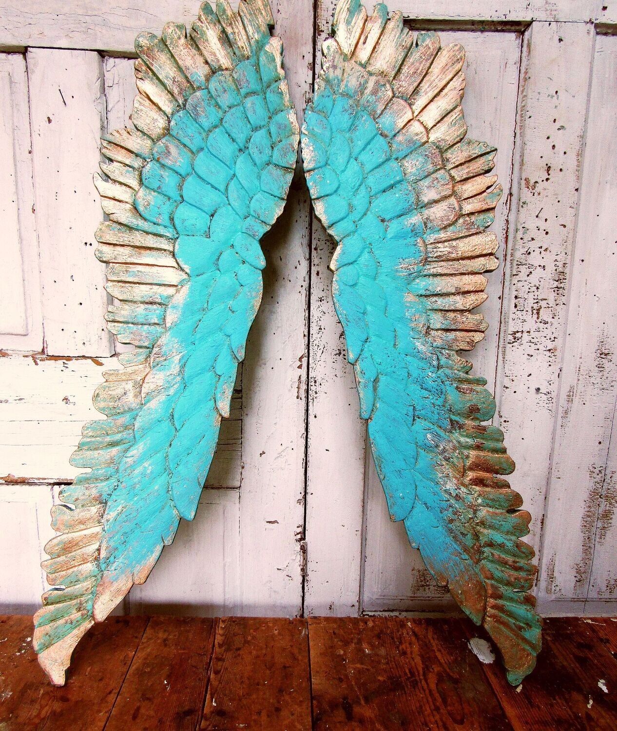 Large wooden angel wings wall decor , one of a kind set