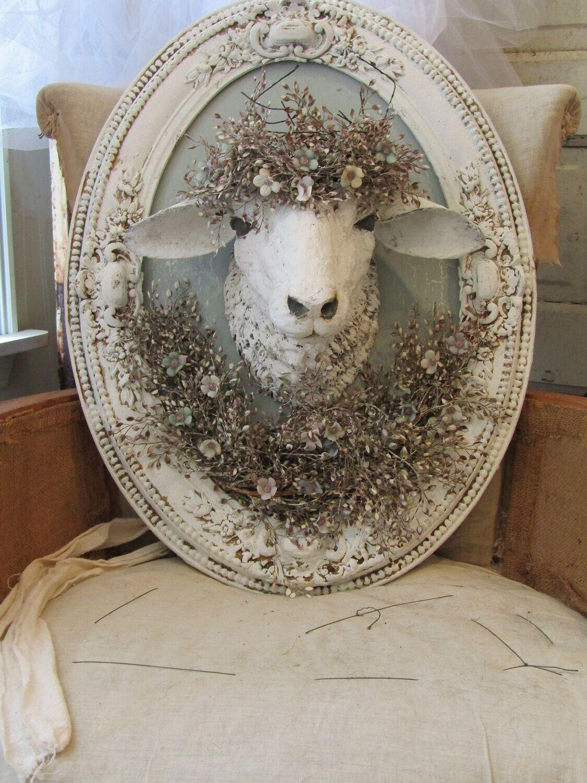 Farmhouse framed sheep wall decor, shabby distressed wall mount