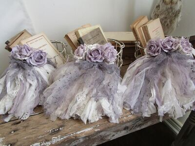 Wire baskets embellished with lavender heather roses, set of 3 organizers