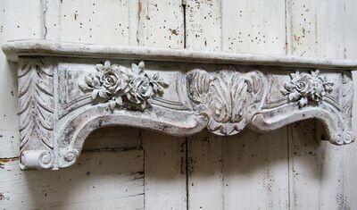 Large white distressed shelf, cornice style ornate rose embellishments
