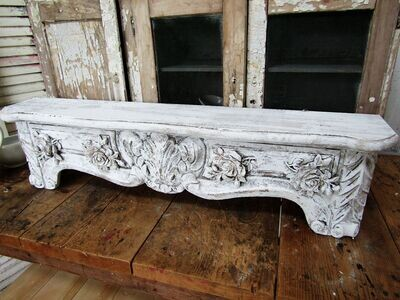 White cornice shelf with 4 roses