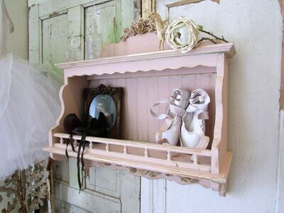 Shabby cottage wood shelf wall decor pink and gold accents, handmade piece