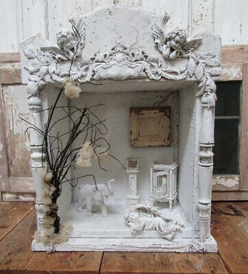 Large white display with diorama