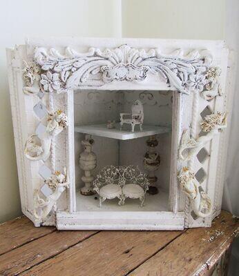 White mermaid embellished display stage or dollhouse