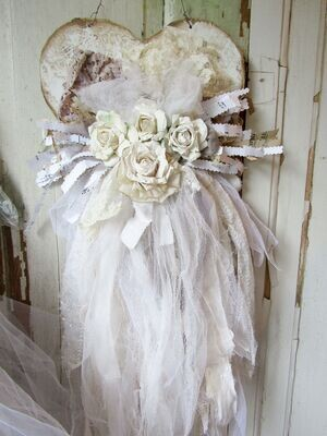 Handmade tattered heart with roses wall hanging with lace and ribbon, beige and white