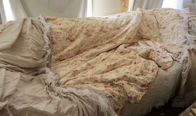 Versatile bed runner throw, French antique quilt with embroidered cotton panels handmade one of a kind