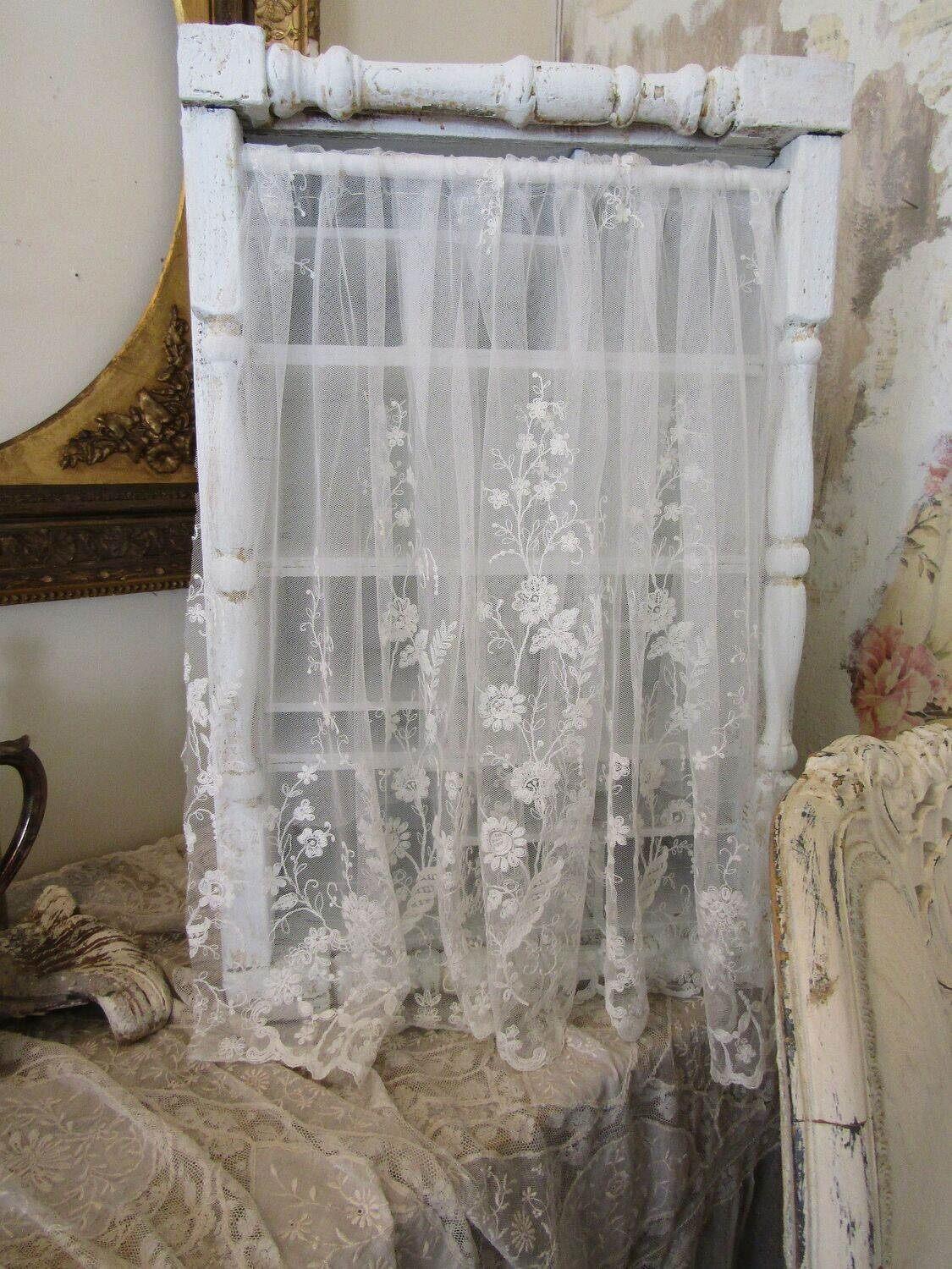 White wood open storage cabinet cubby, antique salvage with embroidered fine lace curtain